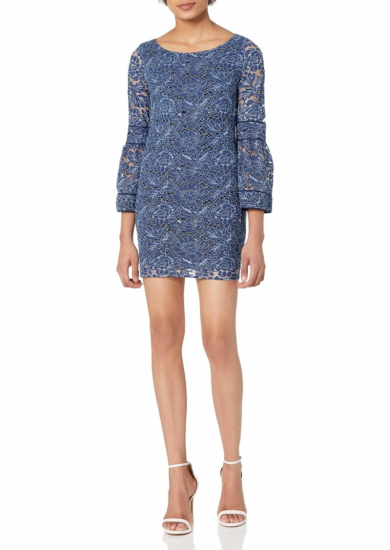 LAUNDRY BY SHELLI SEGAL Women's Lace Shift Dress with Bell Sleeve