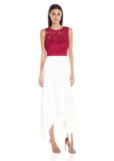 laundry BY SHELLI SEGAL Women's Lace Top with Handkerchief Skirt Gown