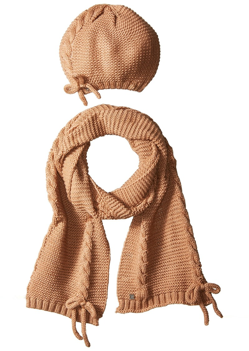 LAUNDRY BY SHELLI SEGAL Women's Lace Up Scarf & Hat Set Accessory -nude one size