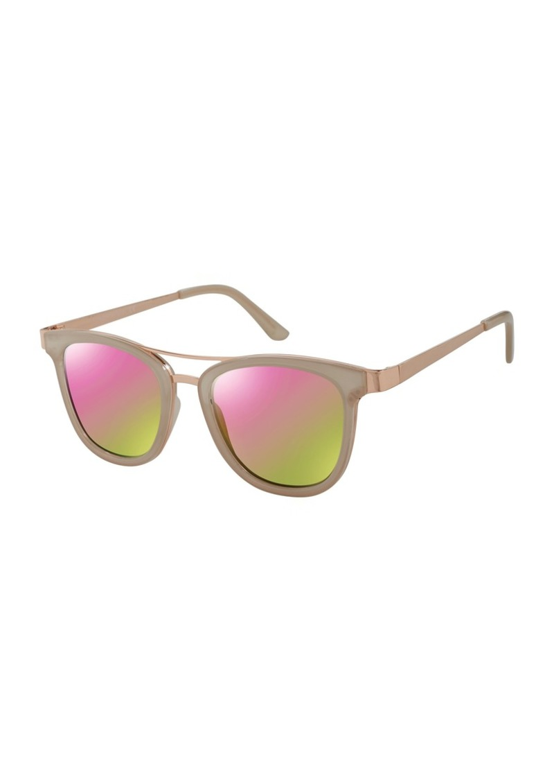 Laundry by Shelli Segal Women's Ld216 Nd Square Sunglasses Nude/Rose Gold