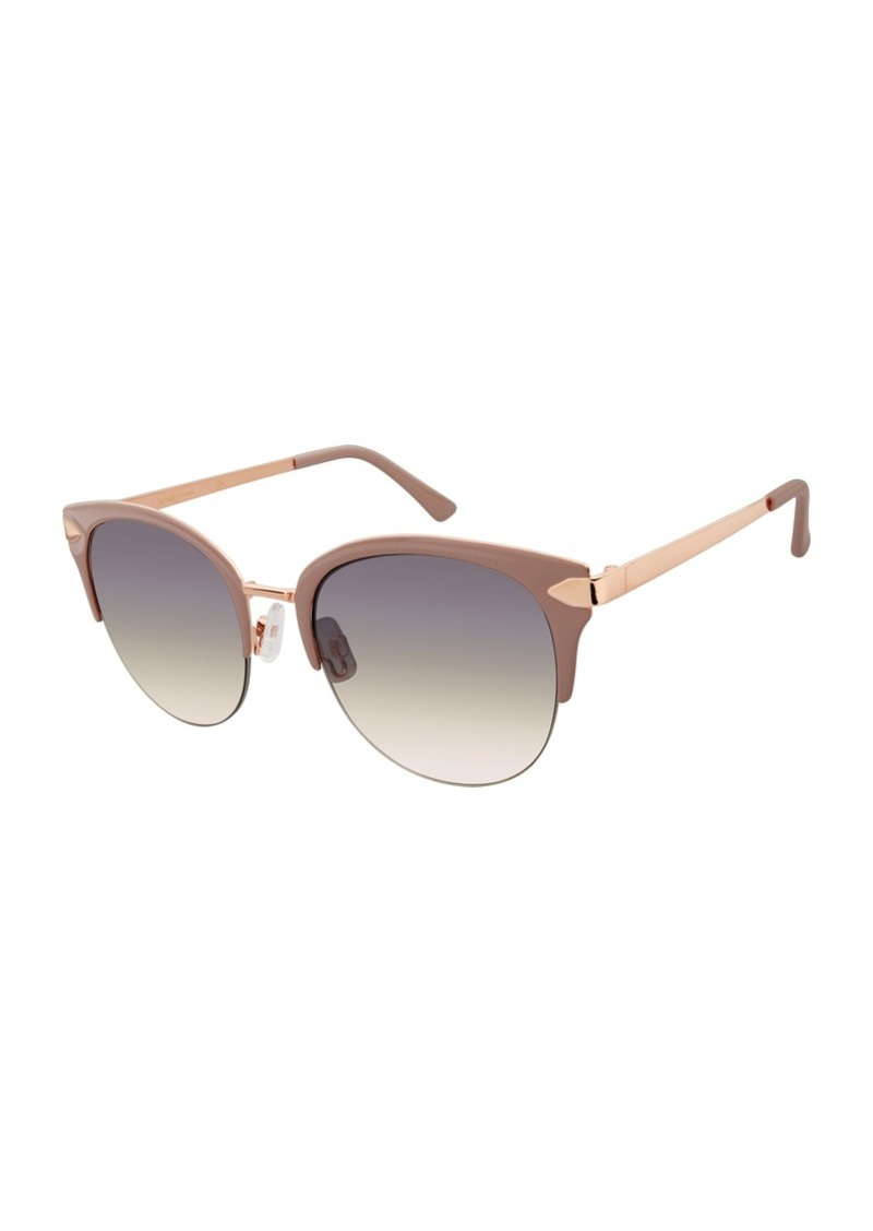 Laundry by Shelli Segal Women's Ld247 Rgdnd Round Sunglasses Rose Gold/Nude