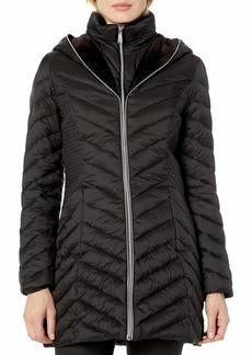 LAUNDRY BY SHELLI SEGAL Women's Lightweight Puffer Jacket with Velvet