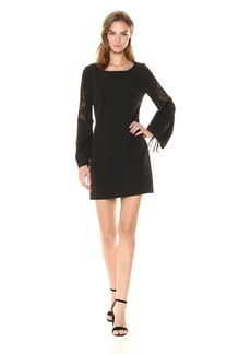 LAUNDRY BY SHELLI SEGAL Women's Long Crepe Dress with Lace Sleeve