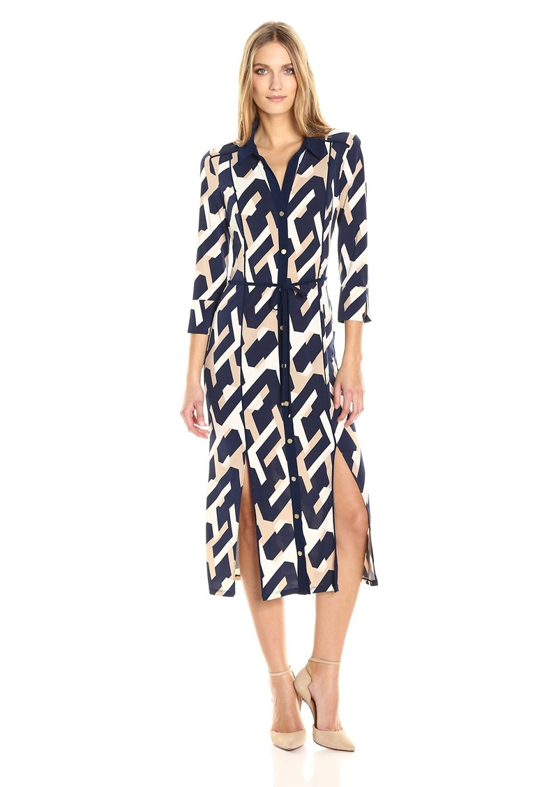 laundry BY SHELLI SEGAL Women's Long Printed Shirt Dress with Slits