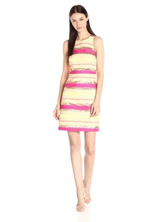 laundry BY SHELLI SEGAL Women's Mardi Gras Multi Stripe Jacquard Fit and Flare T-Back Dress