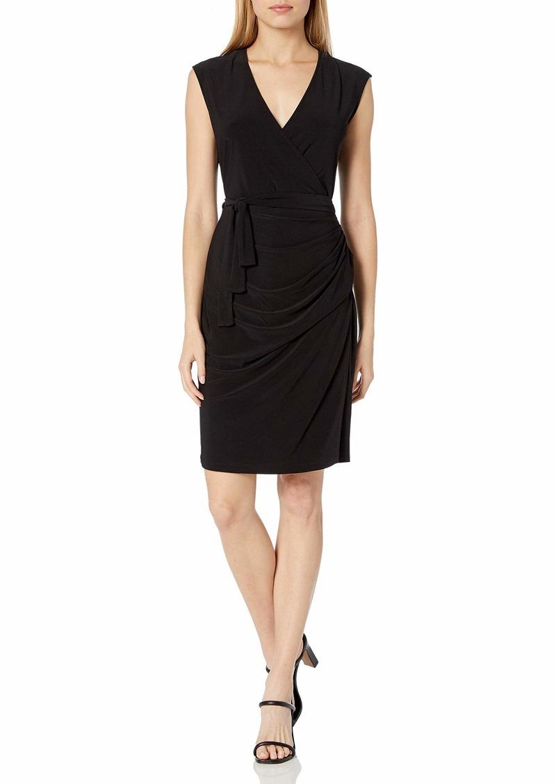 LAUNDRY BY SHELLI SEGAL Women's Matte Jersey Faux Wrap Dress  M