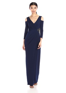 Laundry by Shelli Segal Women's Matte Jersey Gown W/Cold Shoulder Sleeves