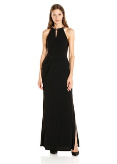 laundry BY SHELLI SEGAL Women's Matte Jersey Gown with Necklace