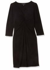 LAUNDRY BY SHELLI SEGAL Women's Matte Jersey Long Sleeve V-Neck Dress  Extra Small