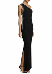 LAUNDRY BY SHELLI SEGAL Women's Matte Jersey One Shoulder Gown with Beading