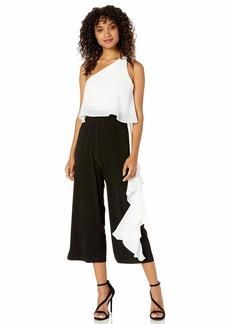 LAUNDRY BY SHELLI SEGAL Women's Matte Jersey Ruffle Jumpsuit