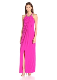 laundry BY SHELLI SEGAL Women's Matte Jersey Sleeveless Gown with Beaded Neck