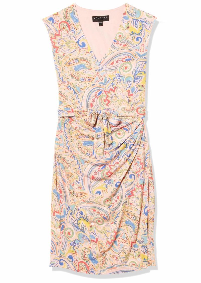 LAUNDRY BY SHELLI SEGAL Women's Matte Jersey V-Neck Tank Faux Wrap Dress