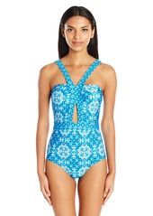 Laundry by Shelli Segal Women's Mayan Escape Cut Out One Piece Swimsuit  XL