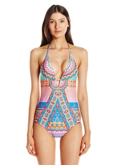 Laundry by Shelli Segal Women's Medallion Halter One Piece Swimsuit