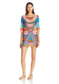 Laundry by Shelli Segal Women's Medallion Open Back Tunic Cover up