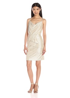 laundry BY SHELLI SEGAL Women's Metallic Draped Front/Blouson Dress with Tiered Skirt