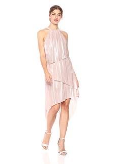 Laundry by Shelli Segal Women's Metallic Pleated Layered Dress