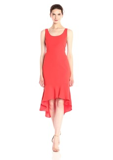 Laundry by Shelli Segal Women's Midi Tank Cocktail Dress with Flutter Hem Fiery red