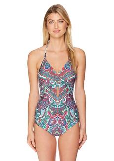 Laundry by Shelli Segal Women's Mirrored Paisley Wrap Halter One Piece Swimsuit  L