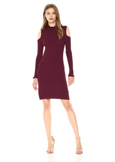 laundry BY SHELLI SEGAL Women's Mock Neck Cold Shoulder Sweater Dress with Ruffle Trim  L