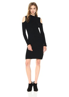 laundry BY SHELLI SEGAL Women's Mock Neck Cold Shoulder Sweater Dress with Ruffle Trim  M