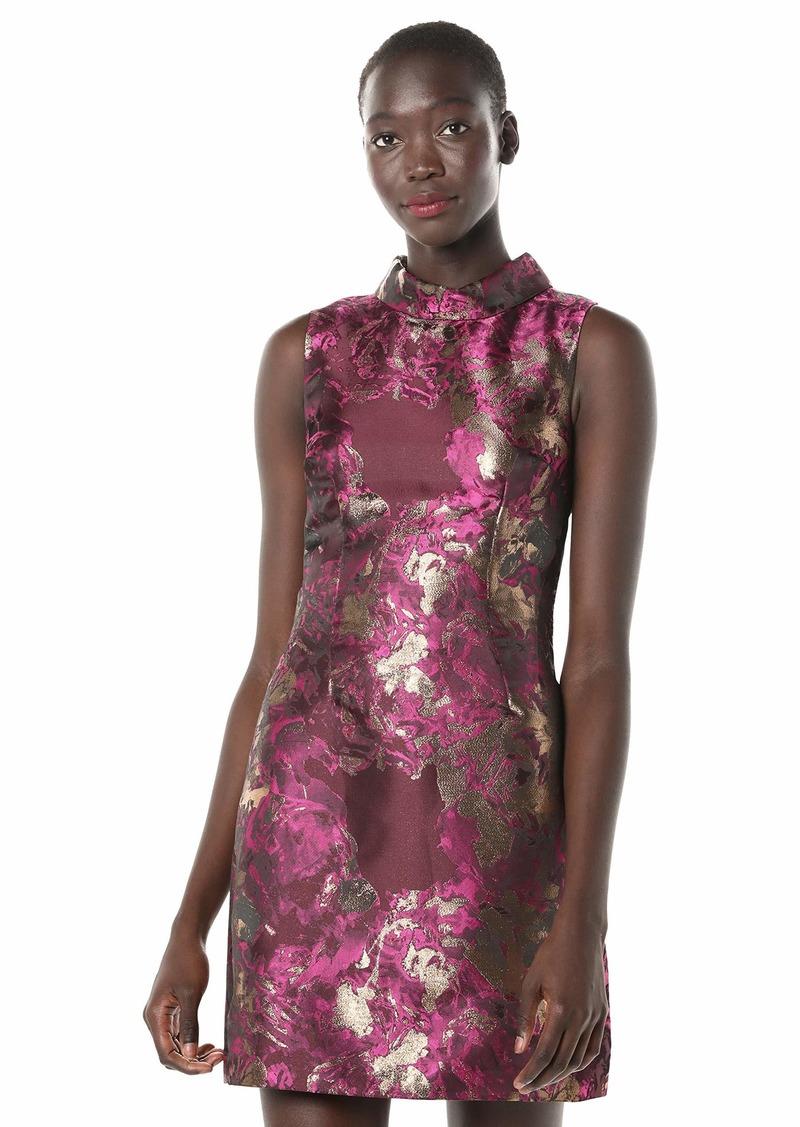 LAUNDRY BY SHELLI SEGAL Women's Mock Neck Jacquard A-line Dress