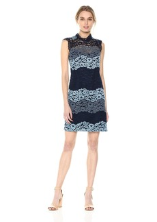 Laundry by Shelli Segal Women's Mock Neck Lace Shift Dress