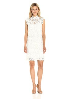 laundry BY SHELLI SEGAL Women's Mock Neck Venise Lace Dress