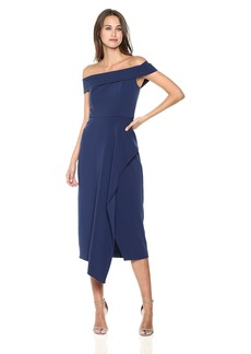 Laundry by Shelli Segal Women's Off The Shoulder Crepe Midi Dress with Ruffle