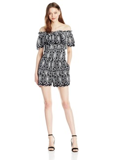 Laundry by Shelli Segal Women's Off The Shoulder Embroidered Eyelet Romper