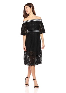 Laundry by Shelli Segal Women's Off The Shoulder Midi Lace Dress With Scallop Hem