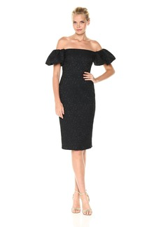 Laundry by Shelli Segal Women's Off The Shoulder Puff Sleeve Midi Dress