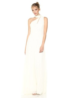 Laundry by Shelli Segal Women's One Shoulder Mock Neck Gown