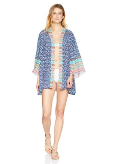 Laundry by Shelli Segal Women's Patchwork Floral Kimono Cover up