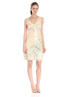 laundry BY SHELLI SEGAL Women's Pearlized Laser Cut Faux Leather V-Neck Dress