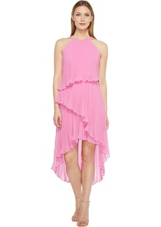 LAUNDRY BY SHELLI SEGAL Women's Pleated Chiffon Cocktail Dress with Asymmetrical Hem