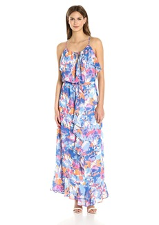 Laundry by Shelli Segal Women's Printed Boho Chic Ruffle Maxi Dress