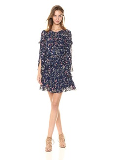 Laundry by Shelli Segal Women's Printed Crepe Dress with Petal Sleeve and Ruffle Details