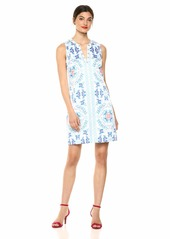 Laundry by Shelli Segal Women's Printed Dress with Beaded Neckline