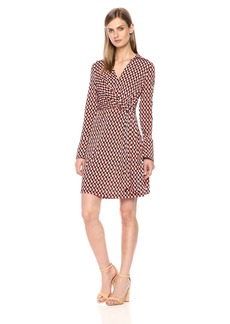 laundry BY SHELLI SEGAL Women's Printed Faux Wrap Matte Jersey Dress