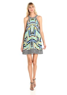 laundry BY SHELLI SEGAL Women's Printed Pleated Halter Dress
