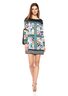 Laundry by Shelli Segal Women's Printed Satin Shift Dress With Split Sleeve