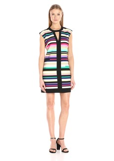 laundry BY SHELLI SEGAL Women's Printed Shift Dress with Black Banding