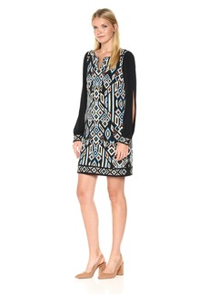 Laundry by Shelli Segal Women's Printed Shift Dress with Embroidered Hem