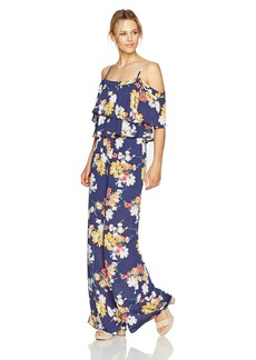 Laundry by Shelli Segal Women's Printed Two Tier Ruffle Palazzo Jumpsuit