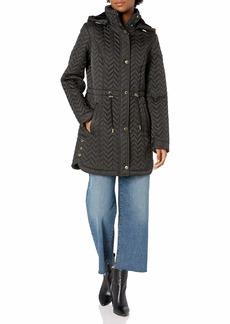 LAUNDRY BY SHELLI SEGAL Women's Quilt Jacket with Faux Fur Trim