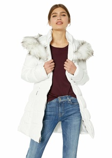 Laundry by Shelli Segal Women's Quilted Puffer Coat with Faux Fur Hood  Extra Large