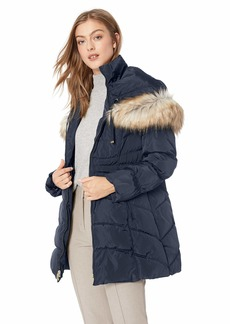 LAUNDRY BY SHELLI SEGAL Women's Quilted Puffer Coat with Faux Fur Hood
