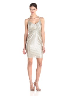 laundry BY SHELLI SEGAL Women's Rapine Metallic Knit Dress with Hardware At Waist